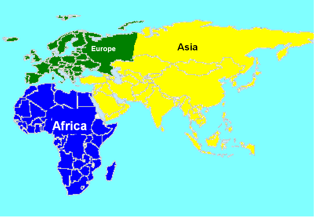 Afro eurasia blank map