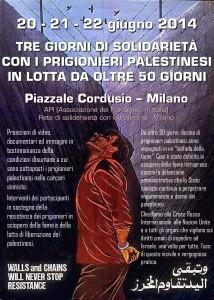 Milano, tre giorni di solidarietà con i prigionieri palestinesi in sciopero della fame