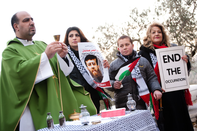 Palestinians hold Mass to protest Israeli separation wall