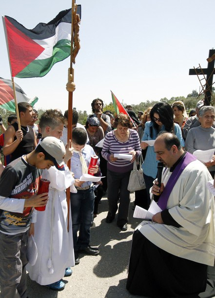 Palestinian priest Father Shomali leads