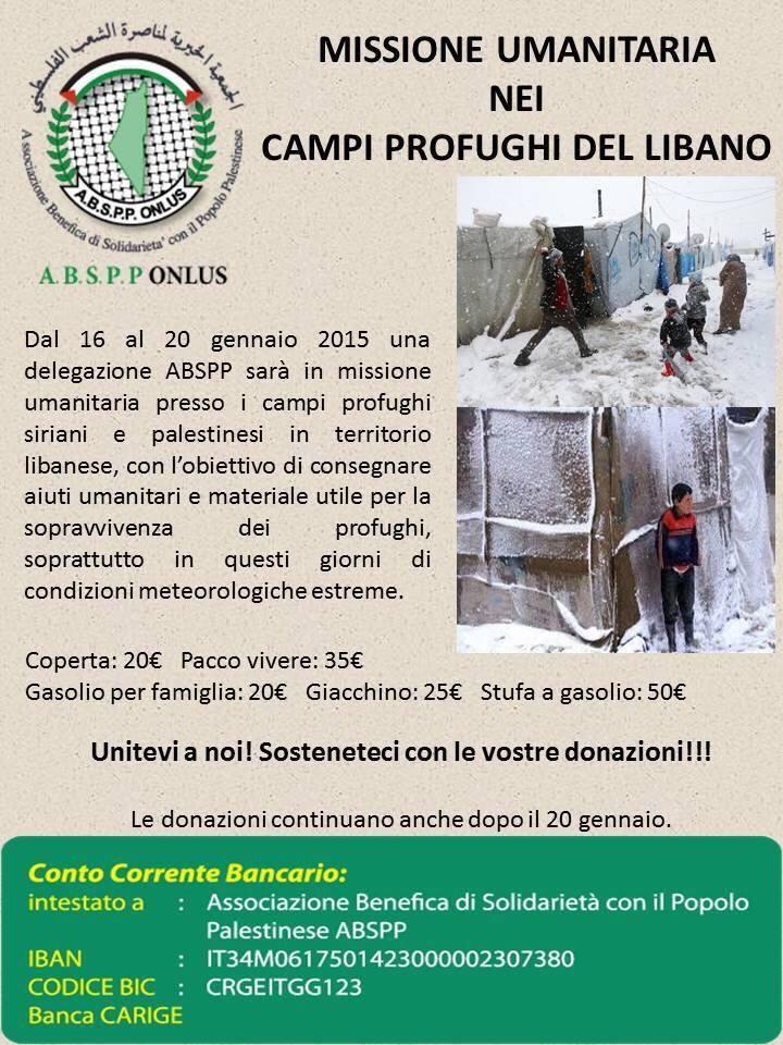 Missione umanitaria per i profughi siriani e palestinesi nel Libano, dal 16-20 gennaio