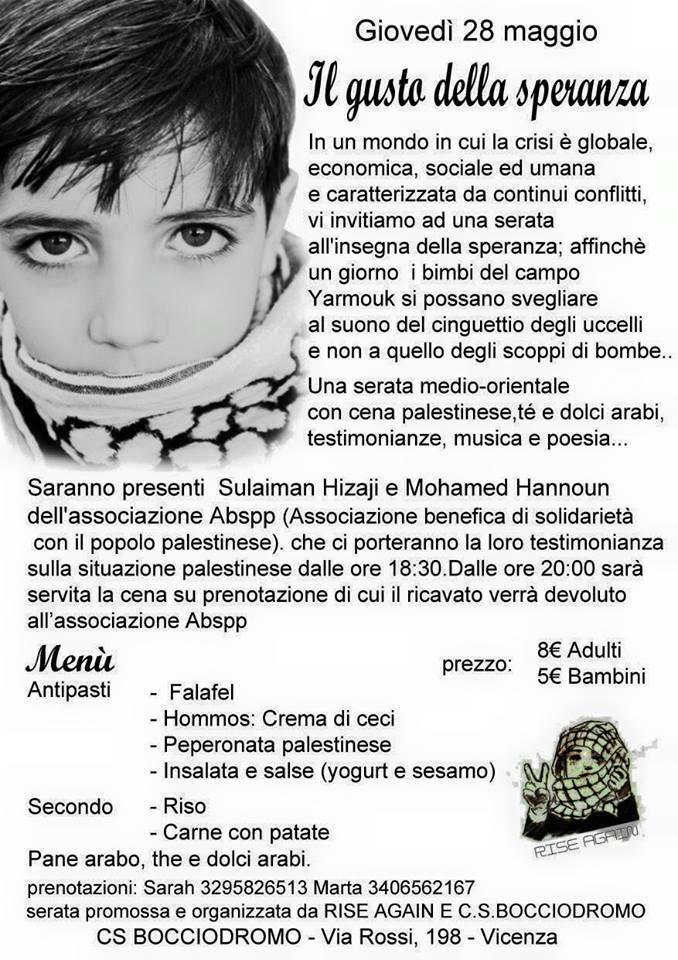 """""""Il gusto della Speranza"""": serata per Yarmouk"""
