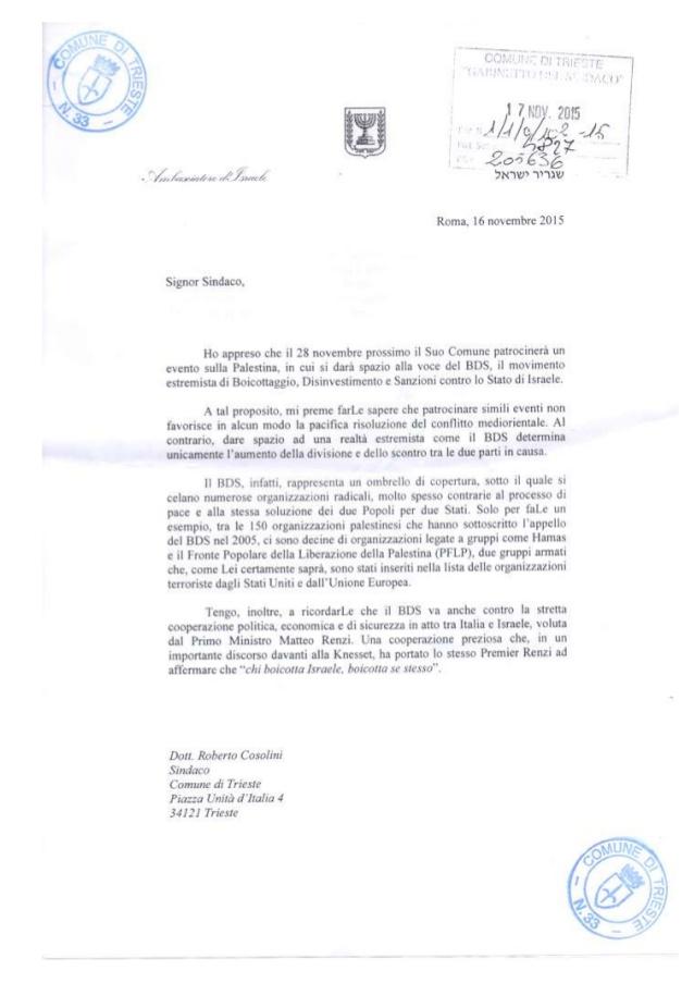 """Trieste, ambasciatore Israele scrive al sindaco: """"Via il patrocinio dal convegno sulla Palestina"""". E il Comune lo toglie"""