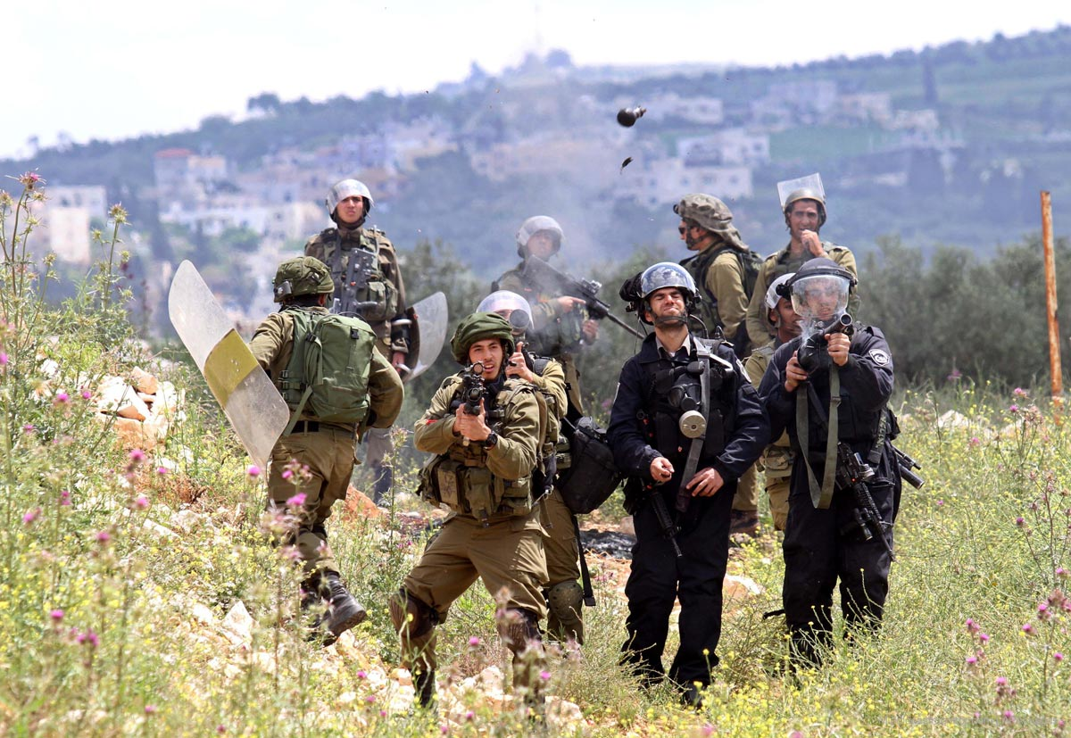 Israeli-security-forces-shoot-a-tear-gas-towards-palestinians-protesting-Israeli-aggression-near-nablus-west-bank