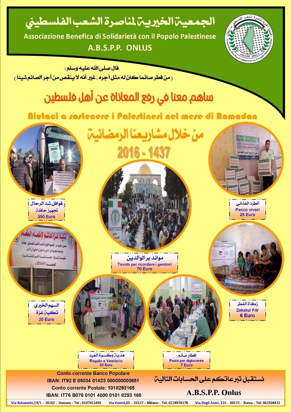 Progetti Abspp di sostegno ai Palestinesi nel mese di Ramadan