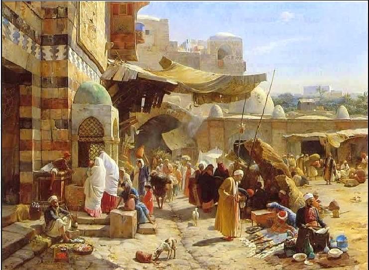 Pintores orientalistas Orientalist painters Gustav Bauernfeind Market in Jaffa 1877