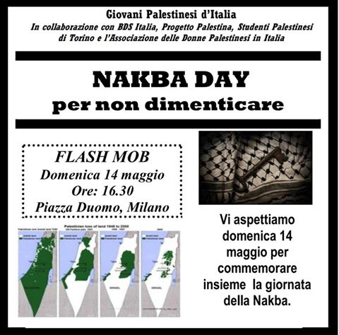 Nakba Day, per non dimenticare: flash-mob a Milano
