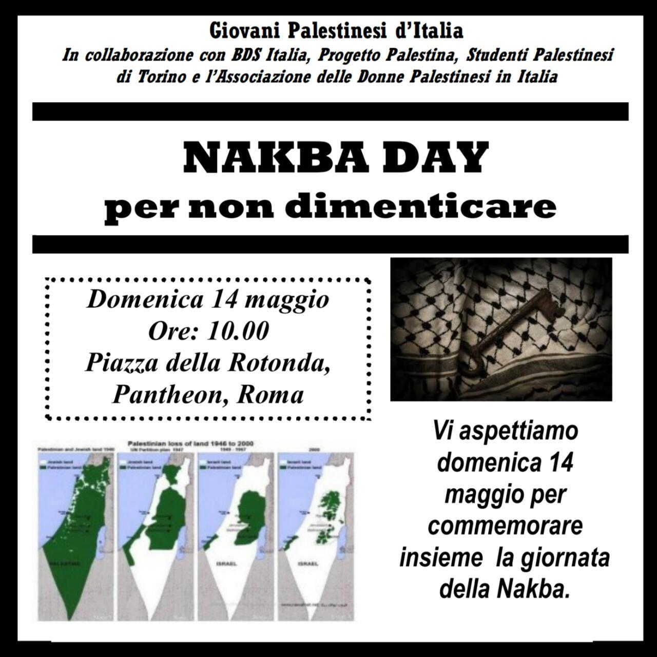 Nakba Day, per non dimenticare: manifestazione a Roma
