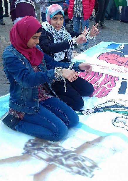 Immagini dal presidio di solidarietà con i prigionieri palestinesi in sciopero della fame