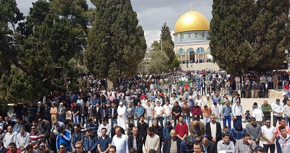 Migliaia di Palestinesi pregano a al-Aqsa
