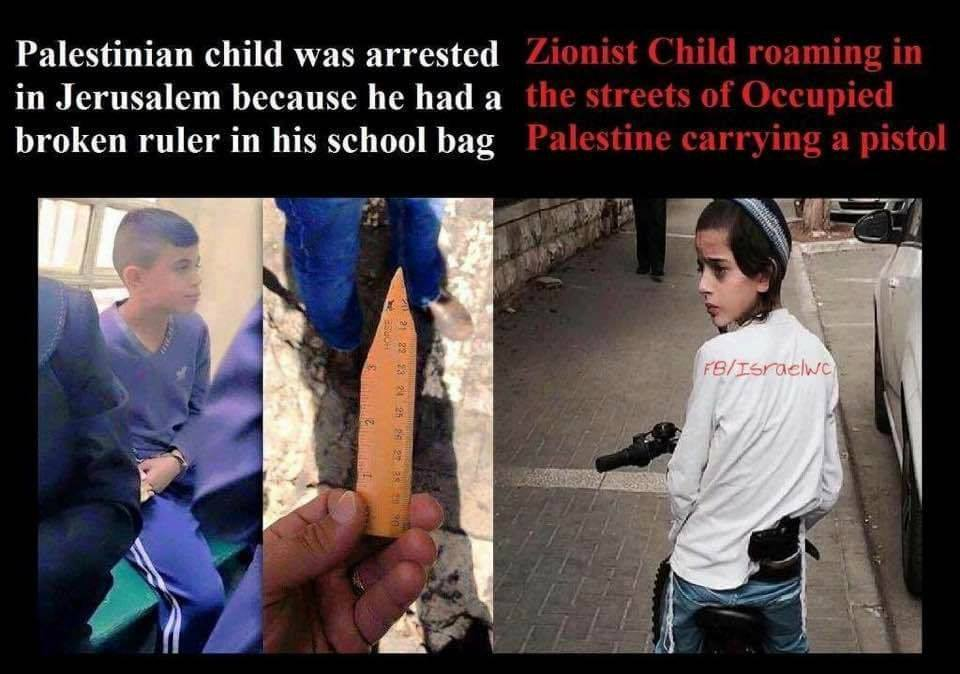 Il doppio standard del colonizzatore israeliano