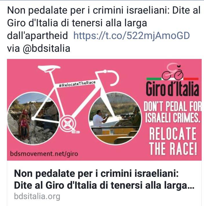 """Giro d'Italia,""""Non pedalate per i crimini israeliani"""""""