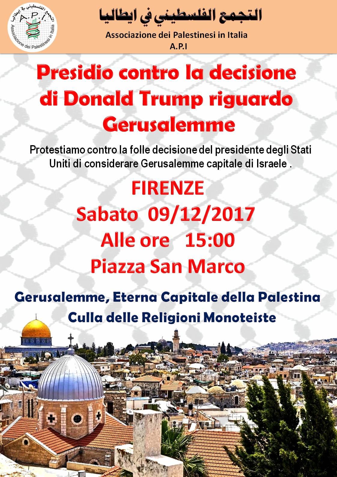 Presidio a Firenze contro decisione di Trump su Gerusalemme
