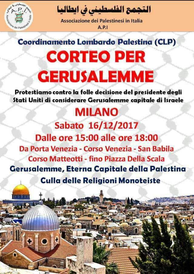 Milano, corteo per Gerusalemme
