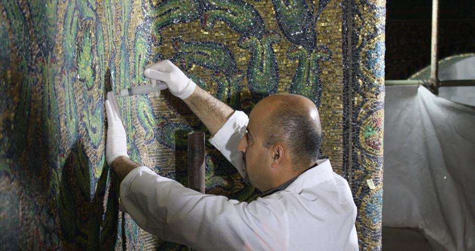Il restauro del mosaico della moschea Al-Aqsa, otto anni di lavoro
