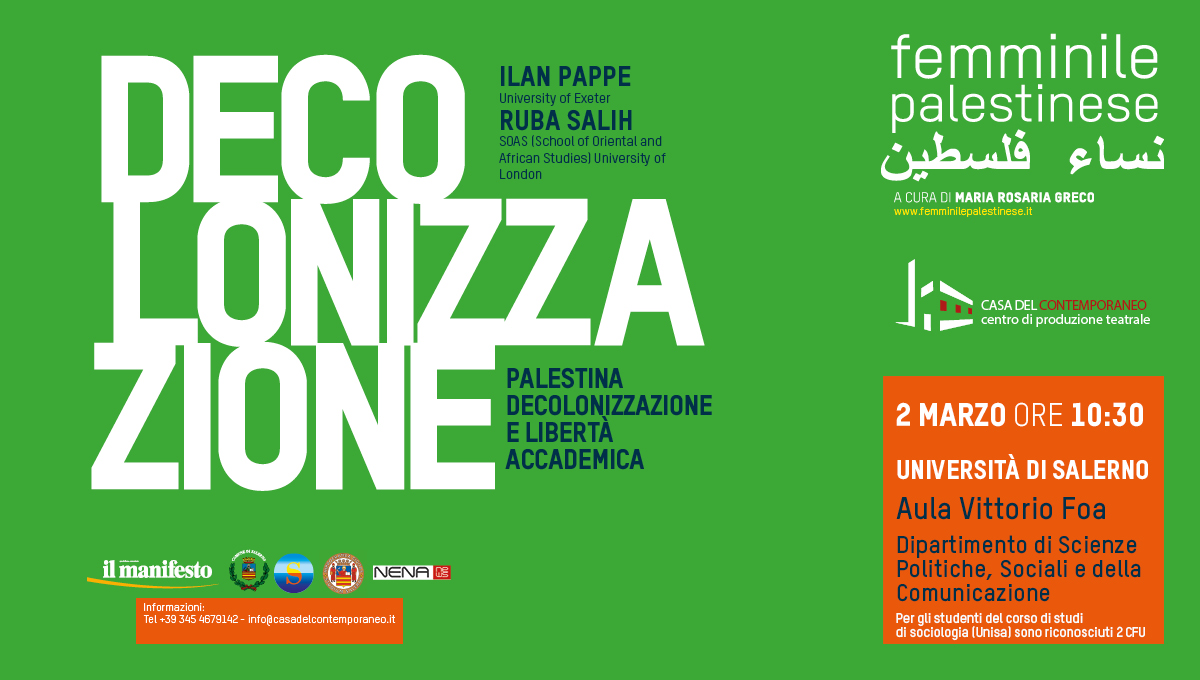 Ilan Pappe e Ruba Salih il 2 marzo all'Università di Salerno
