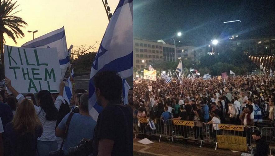"""""""Uccideteli tutti"""": manifestazioni a Tel Aviv a sostegno del genocidio dei Palestinesi"""