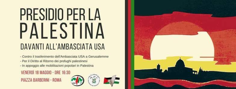 Presidio per la Palestina all'ambasciata USA
