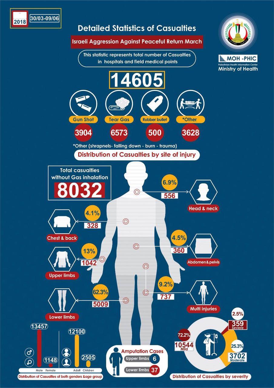 Dettagli statistici sui feriti nella Striscia di Gaza