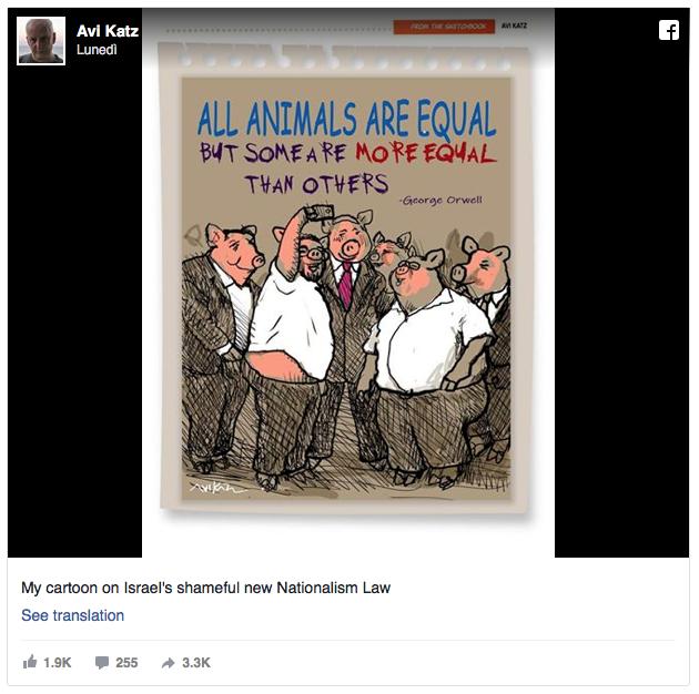"""Vignettista licenziato per aver ritratto Netanyahu e colleghi come i maiali della """"Fattoria degli animali"""""""