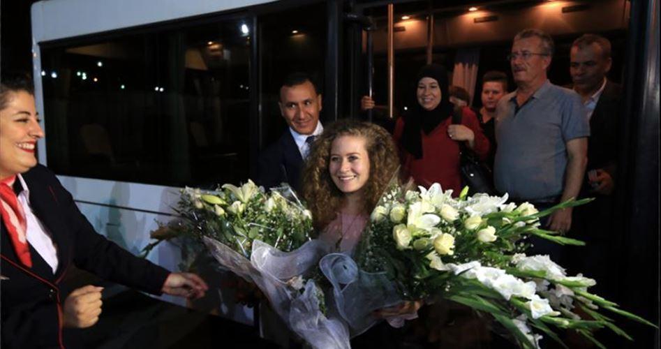 Ahed Tamimi accolta calorosamente in Tunisia