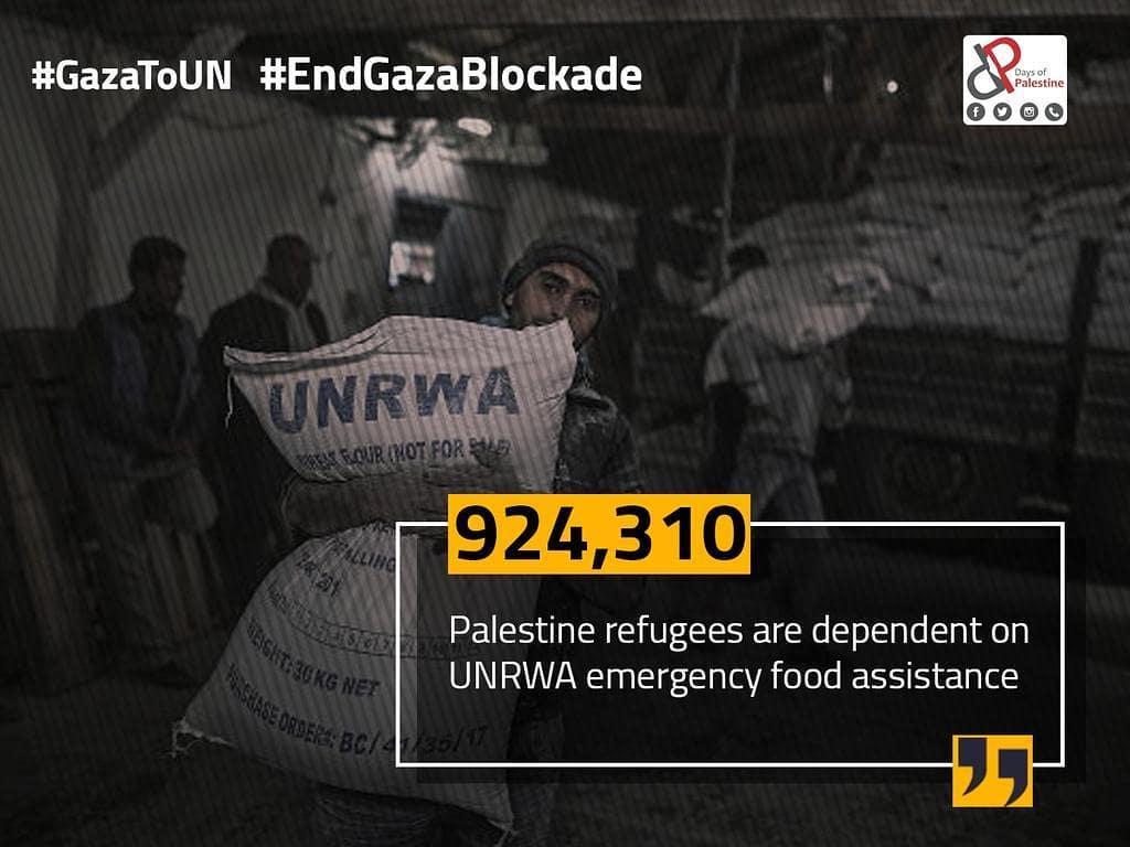 Oltre 900.000 rifugiati palestinesi dipendono all'aiuto alimentare di emergenza dell'UNRWA