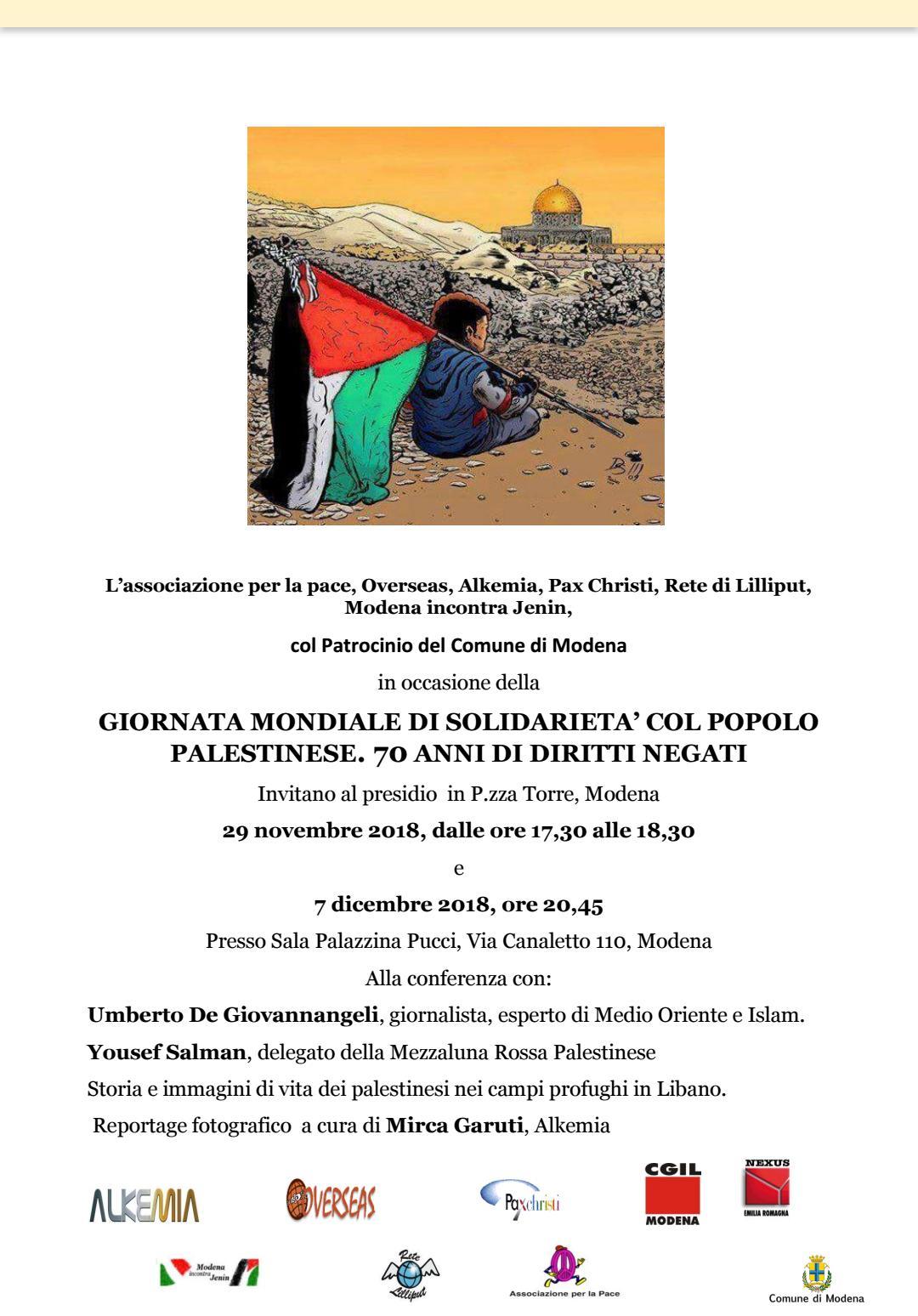 Giornata mondiale di solidarietà con il popolo palestinese: 70 anni di diritti negati