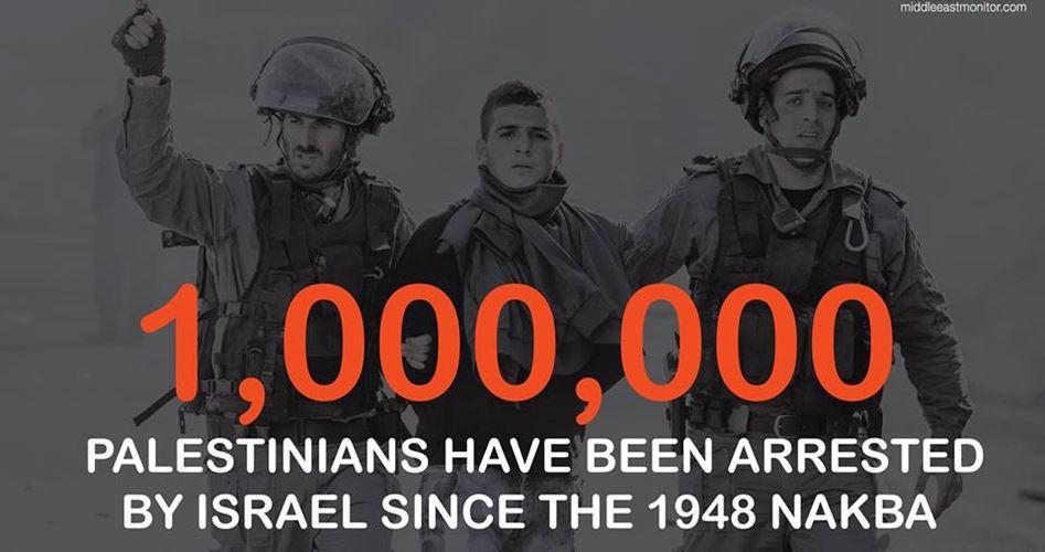 Dal 1948, Israele ha arrestato un milione di Palestinesi