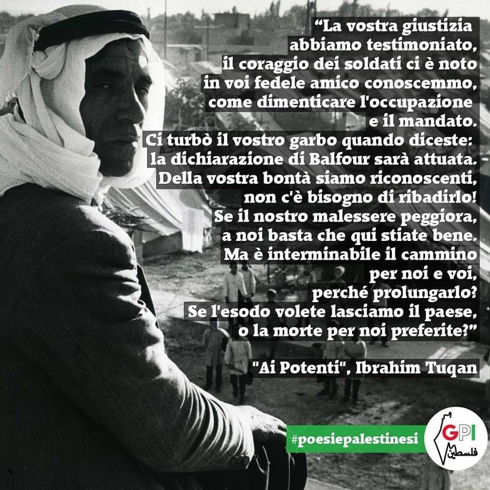 "Poesie palestinesi: ""Ai Potenti"", di Ibrahim Tuqan"