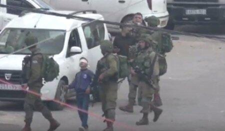 Ragazzino palestinese di 13 anni bendato e ammanettato, è trascinato dalle forze israeliane per Hebron