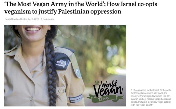 Israele, il veganwashing e la violenza sui Palestinesi
