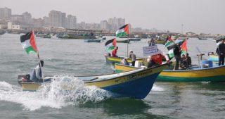 Pescatori gazawi in sciopero a seguito dell'omicidio di colleghi da parte dell'esercito egiziano