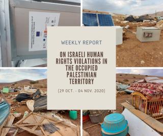 Report settimanale del Pchr sulle violazioni israeliane nei TO