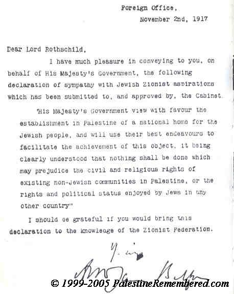 La dichiarazione Balfour sancisce il destino della Palestina